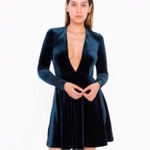 American Apparel Deep V Blue Velvet Skater Dress